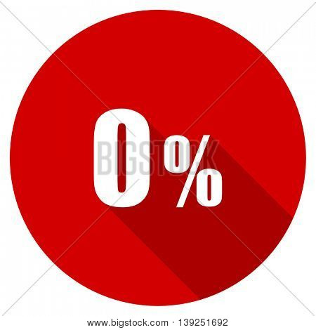 0 percent red vector icon, circle flat design internet button, web and mobile app illustration