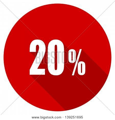 20 percent red vector icon, circle flat design internet button, web and mobile app illustration