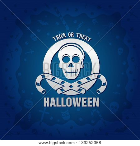 Beautiful Halloween background with golden skull and candies design and crosses ghosts zombies coffins bats and candies
