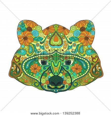 Ethnic Zentangle Ornate HandDrawn Raccoon Head. Painted Doodle Animal Head Vector Illustration. Sketch for Tattoo Poster Print or t-shirt. Relaxing Coloring Book for Adult and Children.