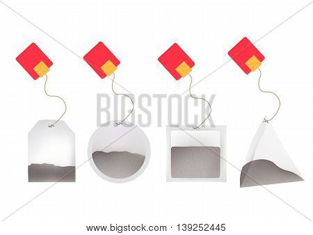Tea Bags Illustration with Labels In Round Rectangle Square Pyramid Shapes. Vector Template Illustration For Your Design. Isolated On White Background.