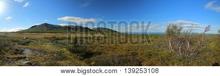 Panoramic View Of Bogs And Mountain Ansaett In Sweden