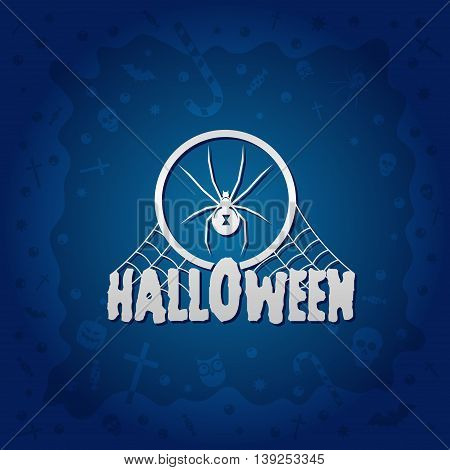 Beautiful Halloween background with golden spider design and skulls crosses ghosts zombies coffins bats and candies