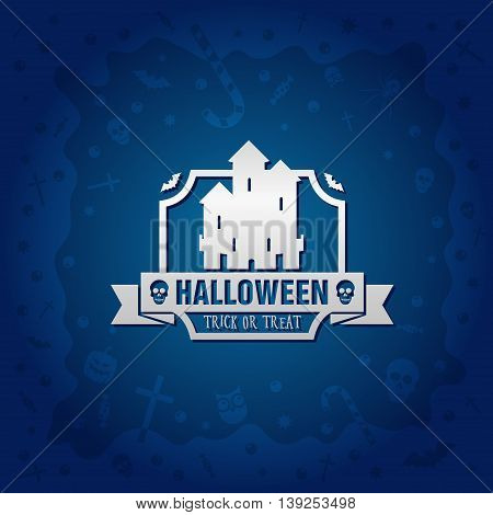 Beautiful Halloween background with golden gothic vampire castle design and skulls crosses ghosts zombies coffins bats and candies