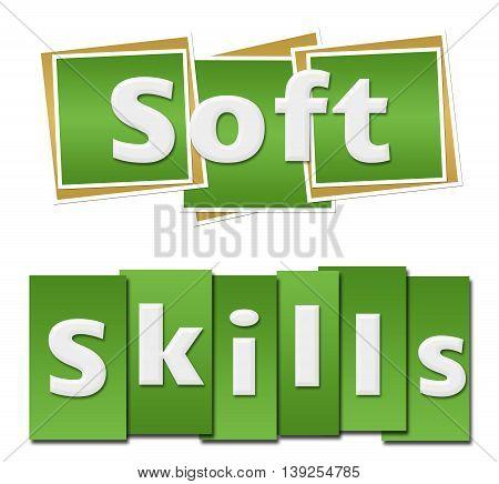 Soft skills text written over green background.