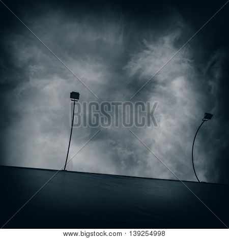 lights to illuminate the billboard on the background of sky and clouds