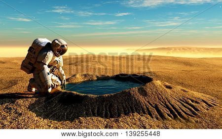 Astronaut near the crater with water.3d render