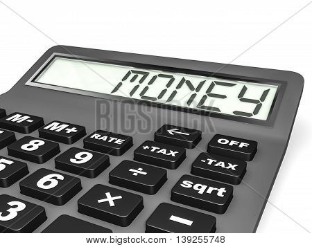 Calculator With Money On Display.