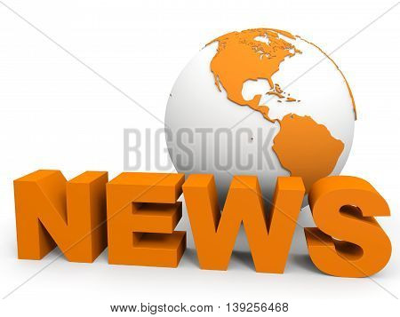 News concept on white background. 3D illustration.