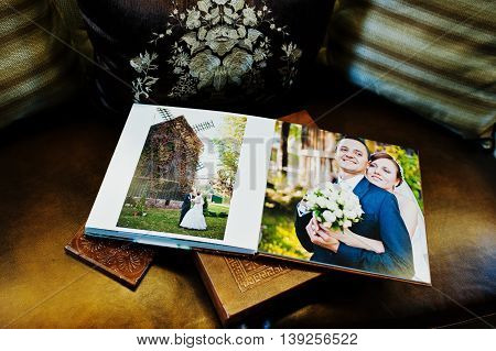 Dual Pages Of Brown Leather Wedding Book And Album