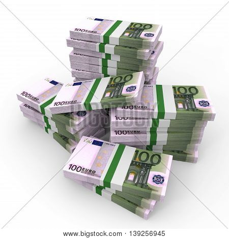 Stacks Of Money. One Hundred Euros.
