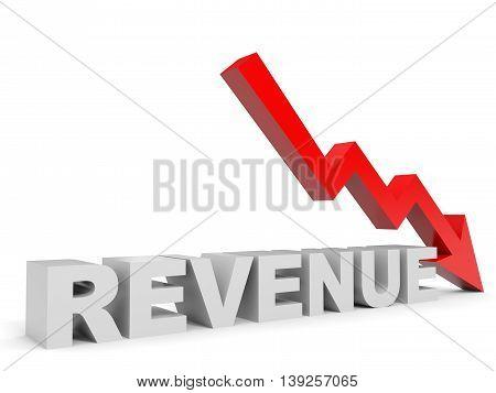 Graph down revenue arrow on white background. 3D illustration.