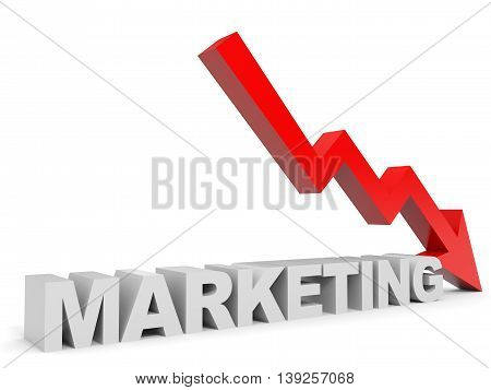 Graph down marketing arrow on white background. 3D illustration.
