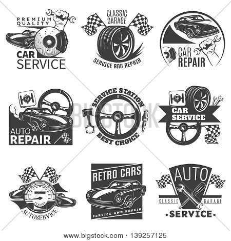 Car repair black emblem set with descriptions of car service service station best choice classic garage vector illustration