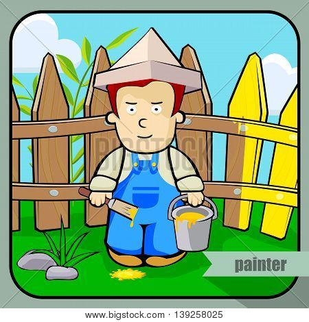 Vector person character portrait. Painter portrait isolated on unpainted fence background. Cartoon style. Human profession icon.