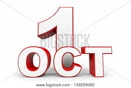 October 1. 3D Text On White Background.