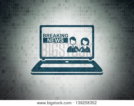 News concept: Painted blue Breaking News On Laptop icon on Digital Data Paper background
