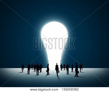 Large group of business people and big light bulb