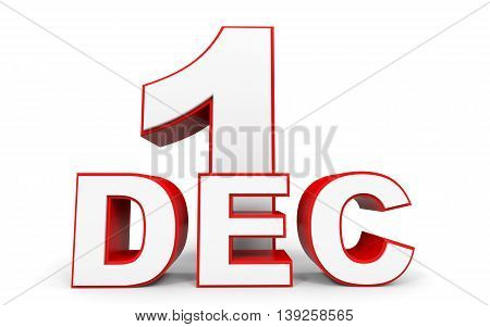 December 1. 3D Text On White Background.