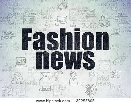 News concept: Painted black text Fashion News on Digital Data Paper background with  Scheme Of Hand Drawn News Icons