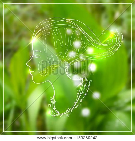 Vector illustration of woman head in side view with text