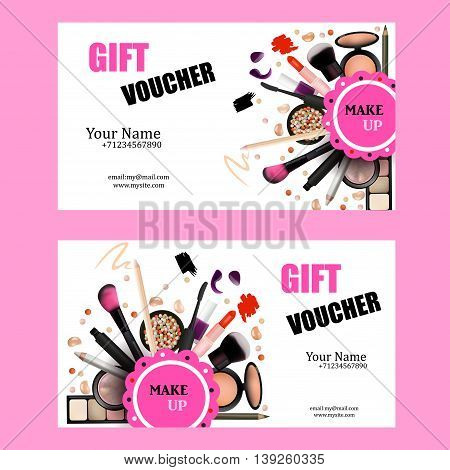 Gift Voucher Card Design Set. Cosmetic Products for Make Up Artist Vector Illustration with Pencil EyeShadowPowderLipsticMascaraBrush. Printable Template for Banner Poster Voucher Booklet.