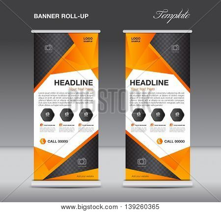 Orange Roll up banner stand template flyer design display polygon background