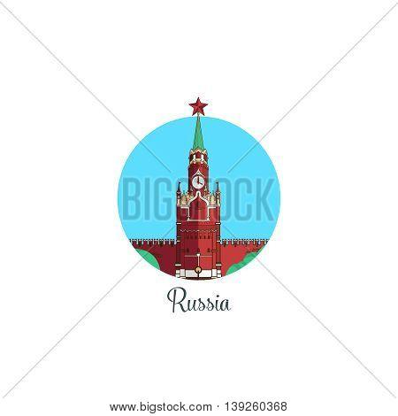 Russia landmark isolated round icon. Vector illustration