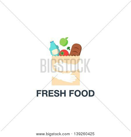 Fresh Food Shopping Logo design vector template. Hands Holding Bag Logotype concept negative space icon.