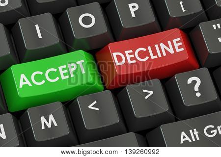 Accept and Decline concept on the black keyboard 3D rendering