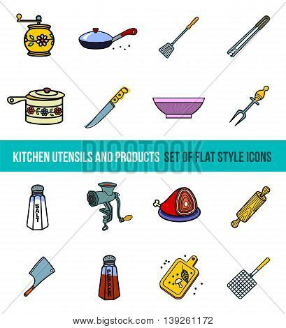 Vector set of kitchenware and Cooking tools in flat style isolated on white background.