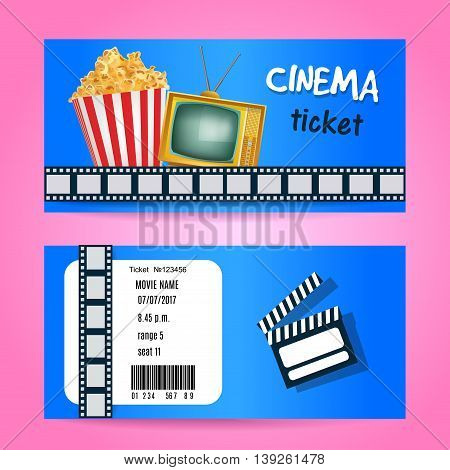 Cinema Ticket Concept. Vector Design with TV and PopCorn. Realistic Illustration