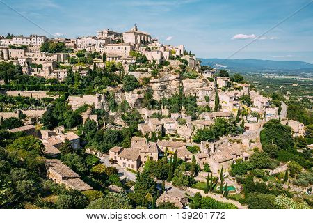 Beautiful Scenic View Of Medieval Hilltop Village Of Gordes In Provence, France