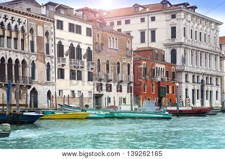 Venice. Italy. Bright ancient houses along Canal Grande