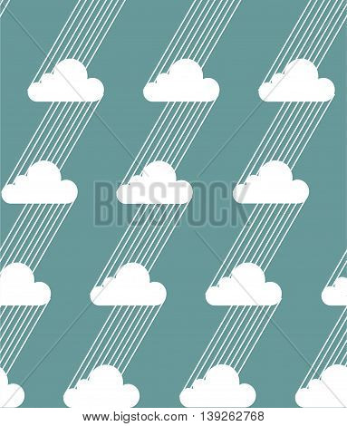 Seamless clouds and rain pattern on a blue background. Vector illustration.