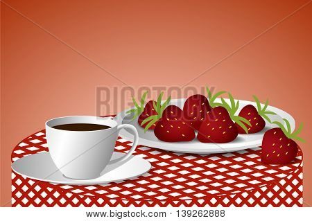 Plate with strawberries and a cup of coffee on a checkered tablecloth, vector illustration