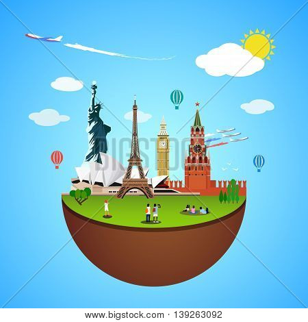 World landmarks concept. Vector illustration for travel design. Famous country symbol icon. Tourism city place culture architecture. USA, Russia, London, Paris, Australia. Cartoon trip tour monument.