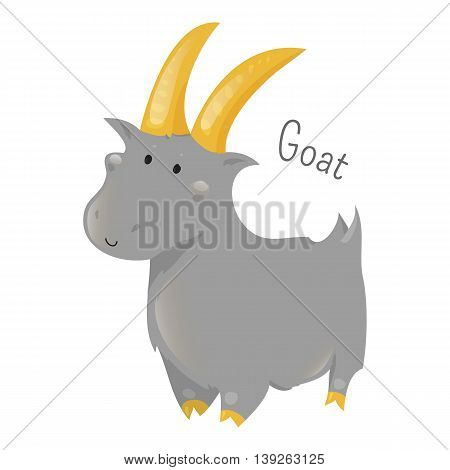 Goat isolated on white. Capra aegagrus hircus. Member of the family Bovidae. Sheep. Antelop. Part of series of cartoon home animal species. Domestic pets. Sticker for kids. Child fun icon. Vector