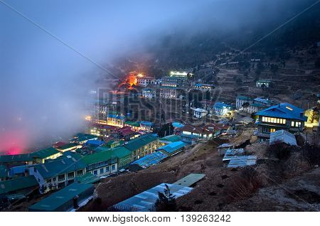 View on Namche Bazar at night Khumbu district Himalayas Nepal