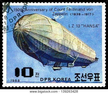 STAVROPOL RUSSIA - JULY 19 2016: a stamp printed in DPR Korea shows Airship LZ-13 Hansa Ferdinand Von Zeppelin series cirka 1988