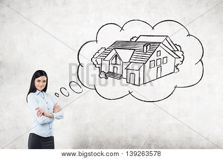 Businesswoman Thinking About Buying House