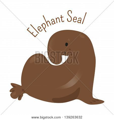 Elephant Seal isolated on white. Large, oceangoing earless in genus Mirounga. Northern and southern species. Part of series of cartoon northern animal species. Child fun pattern icon. Vector