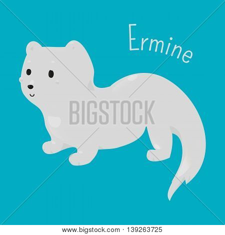 Ermine isolated on blue background. Stoat. Mustela erminea. Short-tailed weasel. Animal with pure white winter coat. Part of series of cartoon northern animal species. Child fun icon. Vector