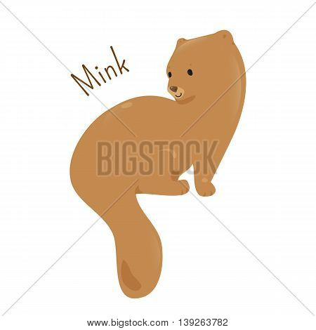 Mink isolated. American and European type. Dark-colored, semiaquatic, carnivorous mammal of the family Mustelidae. Part of series of cartoon northern animal species. Child fun pattern icon. Vector