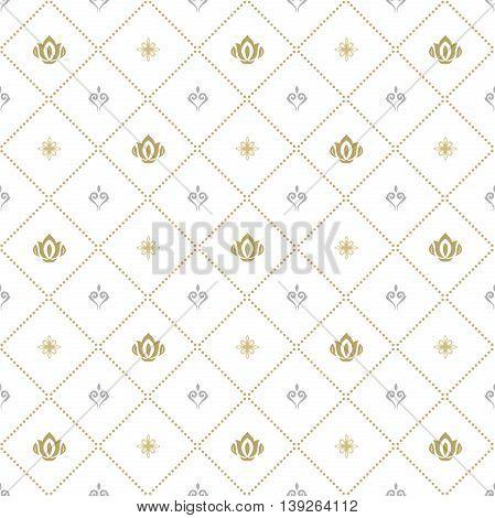 Seamless silver and golden ornament. Modern geometric pattern