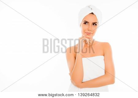Attractive Minded Woman In Towel After Shower On White Background