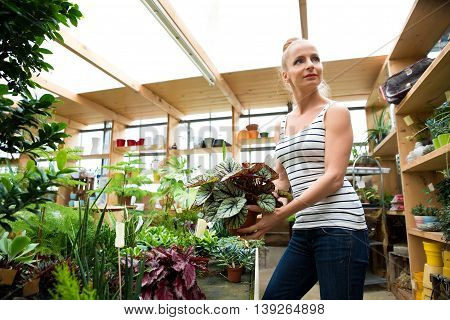 A young adult woman working in a gardening shop and carrying flowers