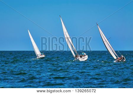 VARNA BULGARIA - July 9 2016: Moment of Yacht Race in the Black Sea