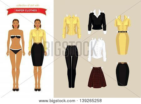 Paper doll with formal clothes. Body template.