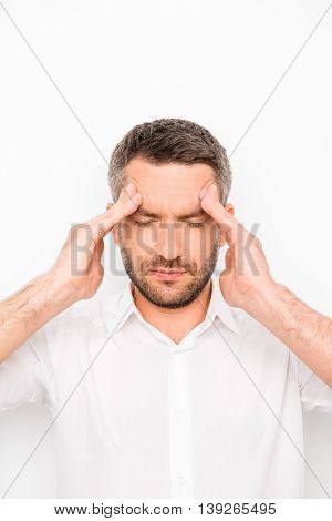 Portrait Of Sick Unhappy Businessman Having Strong Headache